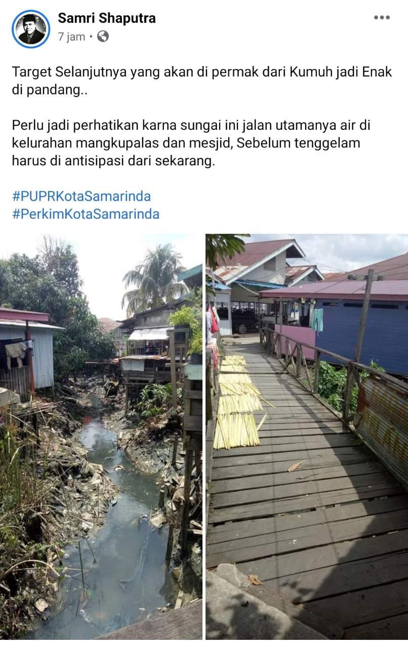 Samri Shaputra Mempost Foto Kawasan Jembatan Kumuh di Laman Facebooknya dengan Captions Target Selanjutnya