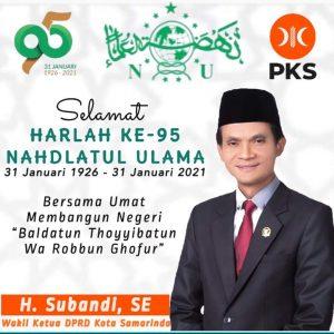 Wakil Ketua DPRD Samarinda, Subandi Ucapkan Harla NU ke-95